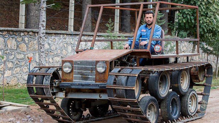Tank görünümlü paletli araç yaptı